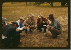 Men of the community of Pie Town, New Mexico eating at the barbeque by Lee, Russell, 1903-1986, photographer